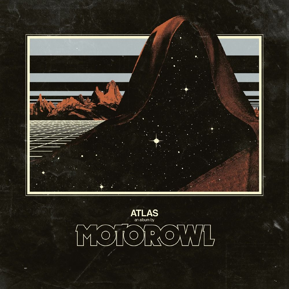 Cover of the album Atlas from Motorowl, showing a cloaked figure in front of a surreal landscape but instead of the person itself one can see stars in a pitch black sky.