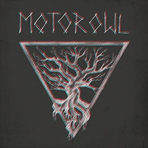 Cover of the album Om Generator from Motorowl, showing a big tree growing inside of a big frame that forms an upside down triangle.
